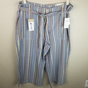NEW $79 Seven 7 Womens 16W Striped High Rise Wide